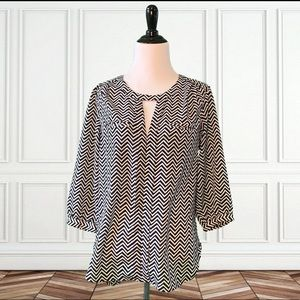 French Connection Black & White 3/4 Sleeve Blouse